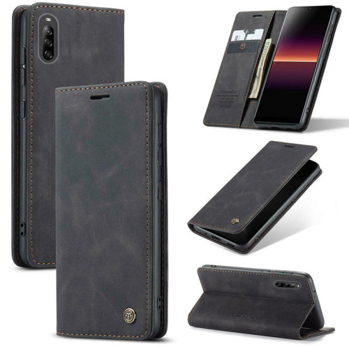 For Sony Xperia L4 1 Black Luxury Suede Leather Slim Wallet Cover