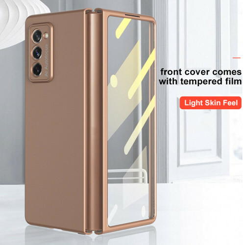 For Samsung Galaxy Z Fold2 5G 360 Shockproof gold Matte PC Tempered Glass Case Cover