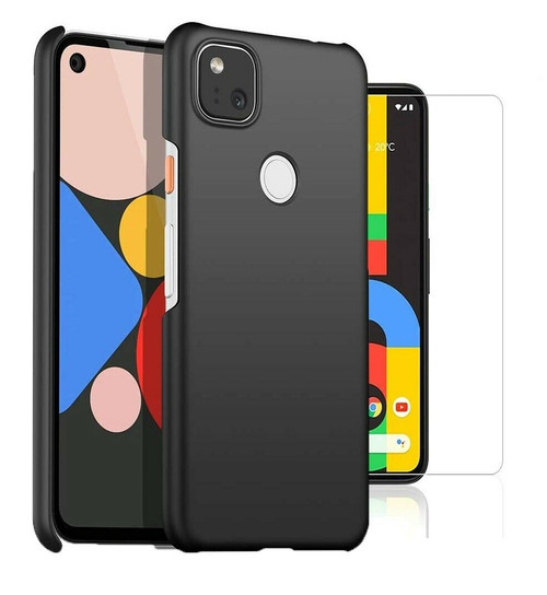 For Google Pixel 4a Case Slim Hard Back Cover & Glass Screen Protector