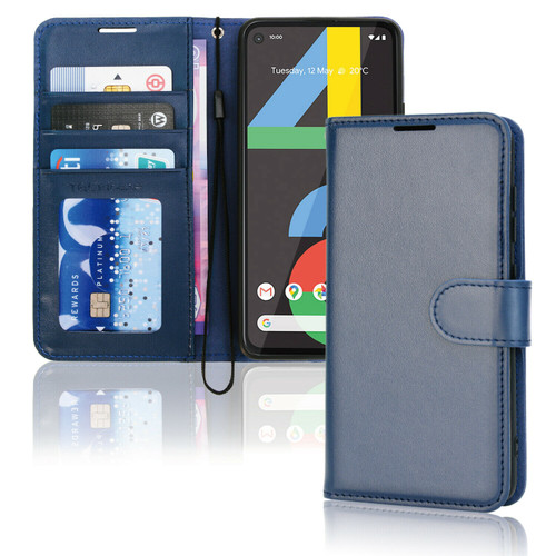 for Google Pixel 4a / 4a 5G blue Premium Flip Leather Wallet Card Holder Stand Case
