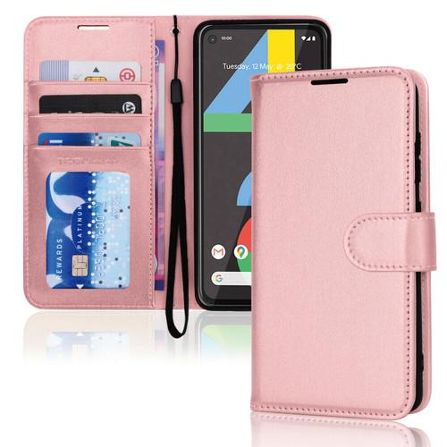 for Google Pixel 4a / 4a 5G rose gold Premium Flip Leather Wallet Card Holder Stand Case