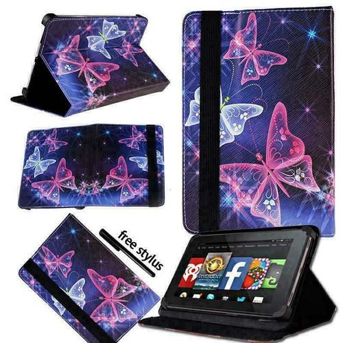 Amazon Kindle Fire HD 7 5th Gen 2015 purple butterfly  on Dark Grey  Smart Leather Stand Wallet Case