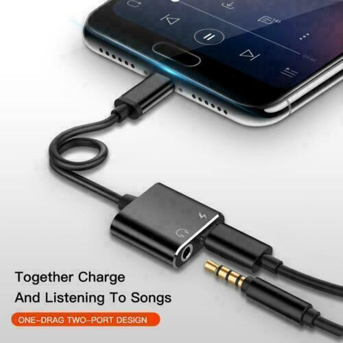 Samsung S21 s21 ultra s21 plus black Type C to 3.5mm AUX Audio Headphone Charging Splitter Adapter