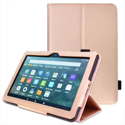 for Amazon Fire HD 10 / 10Plus 2021 11th Generation Leather Flip Case Stand rose gold Cover