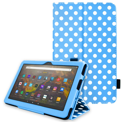 for Amazon Fire HD 10 / 10Plus 2021 11th Generation Leather Flip Case Stand blue polka Cover
