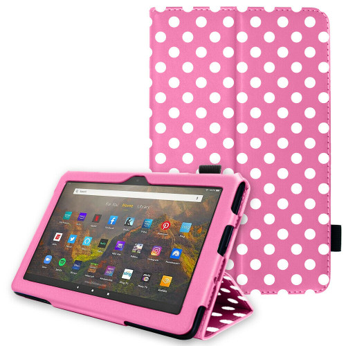 for Amazon Fire HD 10 / 10Plus 2021 11th Generation Leather Flip Case Stand pink polka Cover