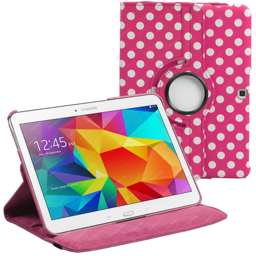 Deep Pink & White Polka Dot PU Leather 360 Rotating Case for Samsung Galaxy Tab 4 Nook 10.1 (T530)