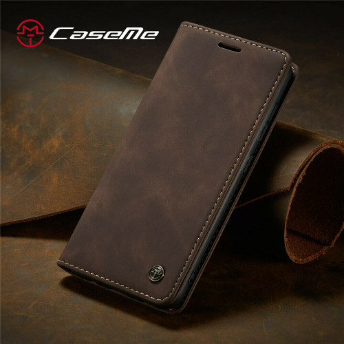 For OnePlus 7 Pro coffee Leather Magnetic Shockproof Cover