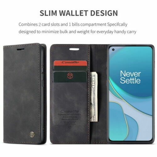 For OnePlus 8 black Leather Magnetic Shockproof Cover