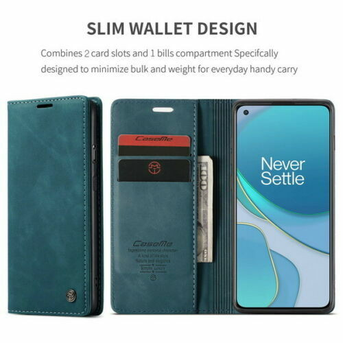 For OnePlus 8 blue Leather Magnetic Shockproof Cover