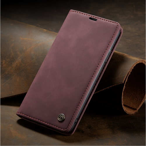 For OnePlus 8 pro wine red Leather Magnetic Shockproof Cover