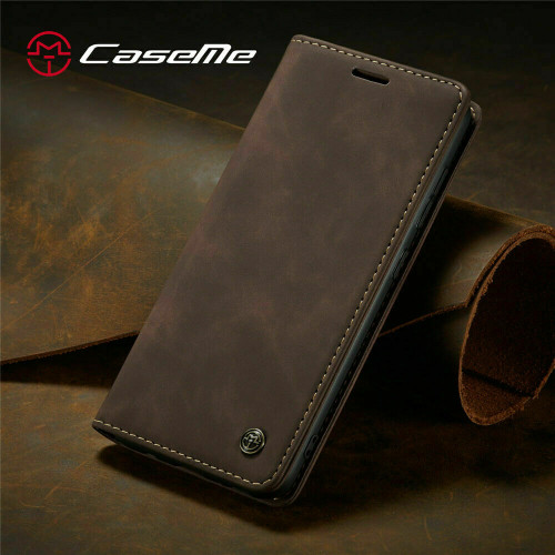 For OnePlus 8 plus coffee Leather Magnetic Shockproof Cover