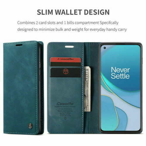 For OnePlus 8 plus blue Leather Magnetic Shockproof Cover