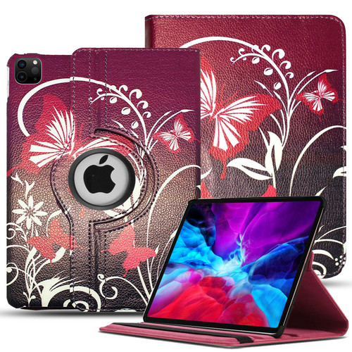 For Apple iPad Pro 12.9 (2021) 5th Generation PU Leather Stand SMART butterfly on purple case