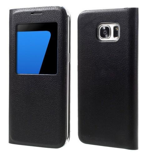 Window view case for Samsung Galaxy S6 edge Black