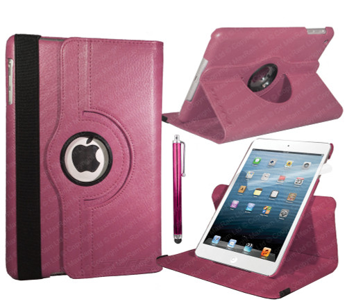 Deep Pink PU Leather 360 Rotating Case for iPad Air 2
