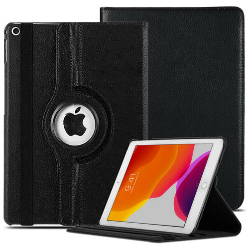 Black For Apple iPad 9th Generation 10.2 2021 360 Rotating Smart Leather Case Cover