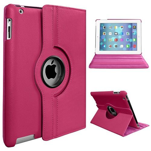 Apple iPad Mini 1 2 3 Deep Pink PU Leather 360 Rotating Case
