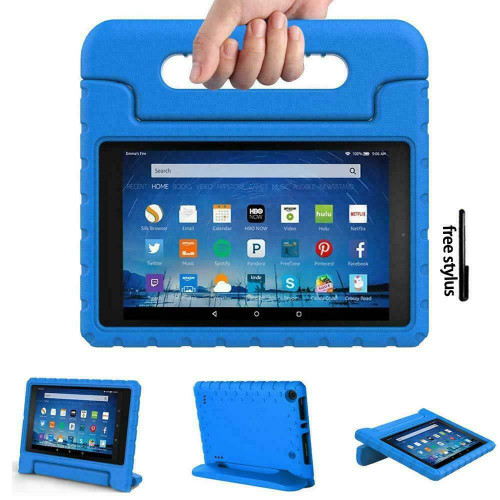 Kindle fire HD 8(2017) 7th Generation Kids Blue Builder Shockproof Eva Foam With Alexa Stand Case