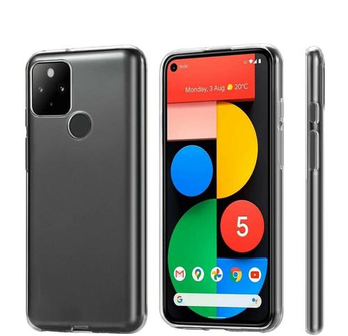 Ultra Slim For Google Pixel 5 Clear Gel Cover Case Bumper+Glass Screen Protector