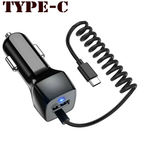 Fast USB-C Car Charger For Samsung Galaxy S8 S9 Plus S10 & Type C Cable