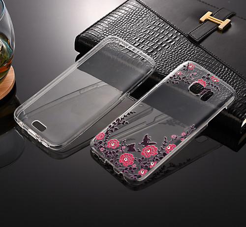 Front + back 360 TPU Bling Protective Clear Pink Flower Gel Case For Samsung J3