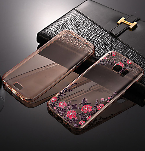 Front + back 360 TPU Bling Protective Rose Gold with Pink Flower Gel Case foe Samsung S7 Edge