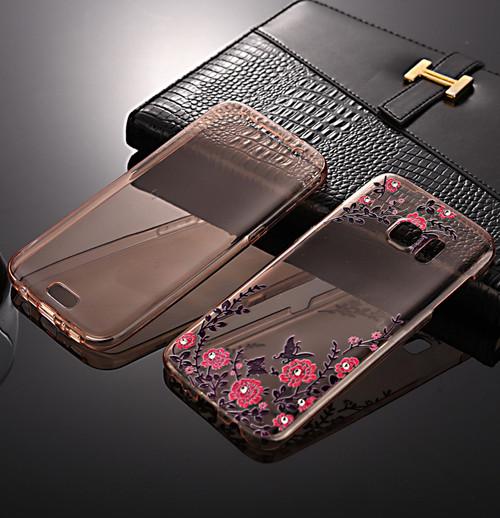 Front + back 360 TPU Bling Protective Rose Gold with Pink Flower Gel Case for Samsung J3