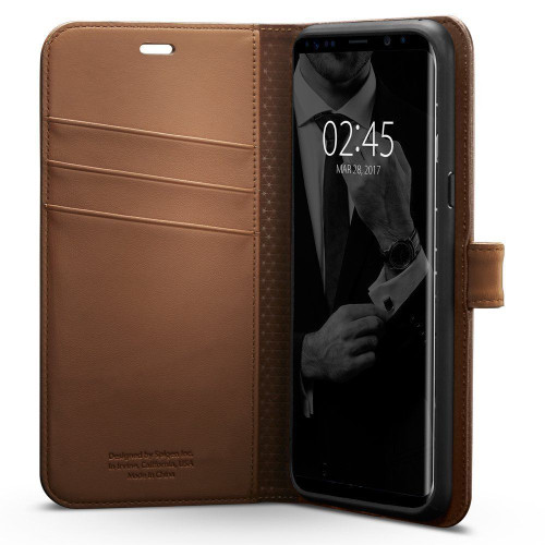 Galaxy S8 Plus Case, Spigen Wallet  Cover - Brown