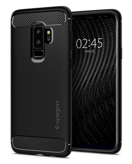 Galaxy S9 Plus Case, Spigen Rugged Armor Cover - Matte Black