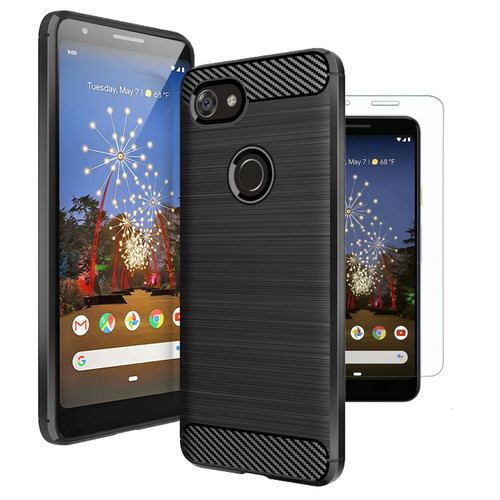 Google Pixel 3a Black Carbon Fibre Cover Case & Glass Screen Protector