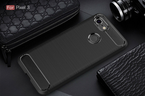 Google Pixel 3a Black Carbon Fibre Gel Case Cover