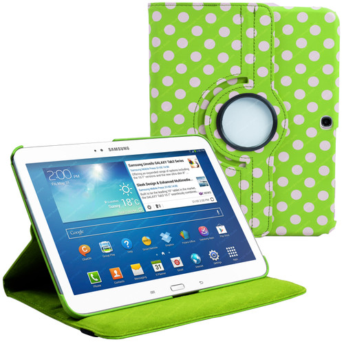 Green & White Polka Dot PU Leather 360 Rotating Case for Samsung Galaxy Tab 3 10.1 (P5200/P5210)
