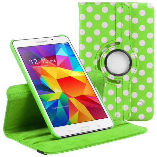 Green & White Polka Dot PU Leather 360 Rotating Case for Samsung Galaxy Tab 4 7.0 (T230/T231/T235)