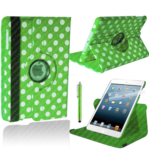 Green & White Polkadot PU Leather 360 Rotating Case for iPad Air 2