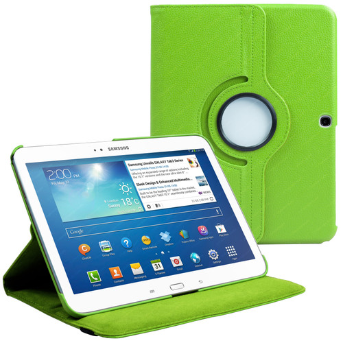 Green PU Leather 360 Rotating Case for Samsung Galaxy Tab 3 10.1 (P5200/P5210)