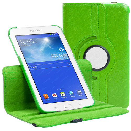 Green PU Leather 360 Rotating Case for Samsung Galaxy Tab 3 7.0 LITE (T110/T111)