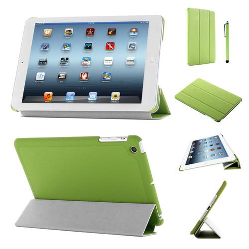 Green Slim Tri-Fold PU Leather Case for iPad 2/3/4