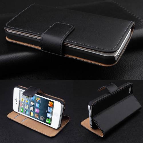 Black  iPhone 6 6G 4.7 Inch Real leather Wallet Case