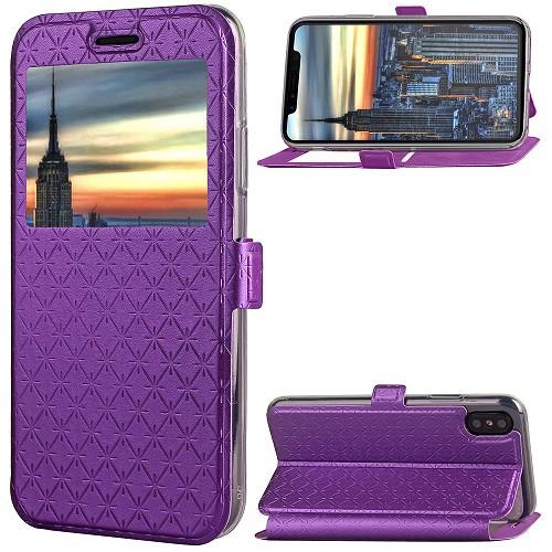 iPhone X Purple Pu leather window view case