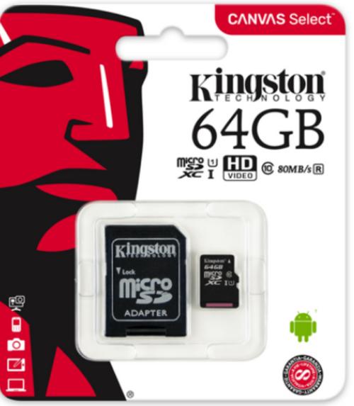 Kingston 64GB MicroSDXC Flash Memory Card Class 10 UHS-I (SDCS/64GB)