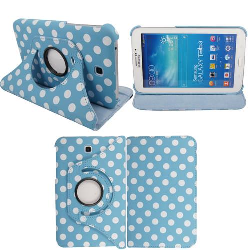 Light Blue & White Polkadot PU Leather 360 Rotating Case - Samsung Galaxy Tab 3 7.0 LITE (T110/T111)