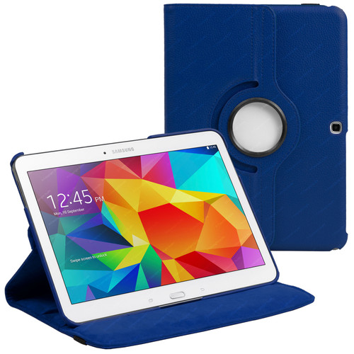 Navy Blue PU Leather 360 Rotating Case for Samsung Galaxy Tab 4 Nook 10.1 (T530)