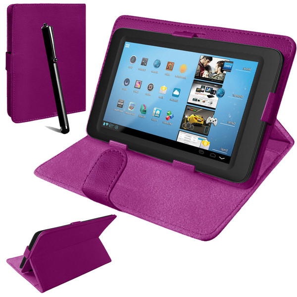Nook HD 7 inch Universal Purple Leather Stand Folding Folio Case