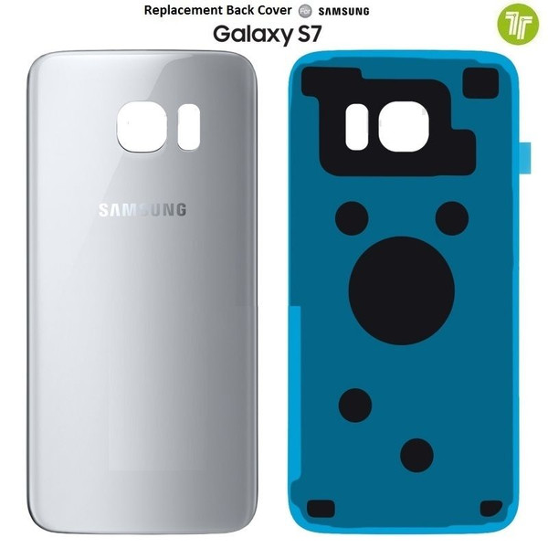 Original Silver Titanium Back Battery Cover Glass For Samsung Galaxy S7