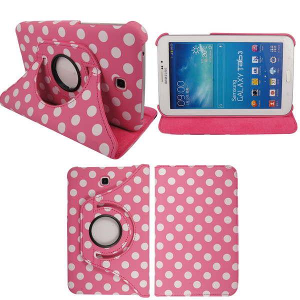 Pink & White Polka Dot Leather 360 Rotating Case for Samsung Galaxy Tab 3 7.0 LITE (T110/T111)