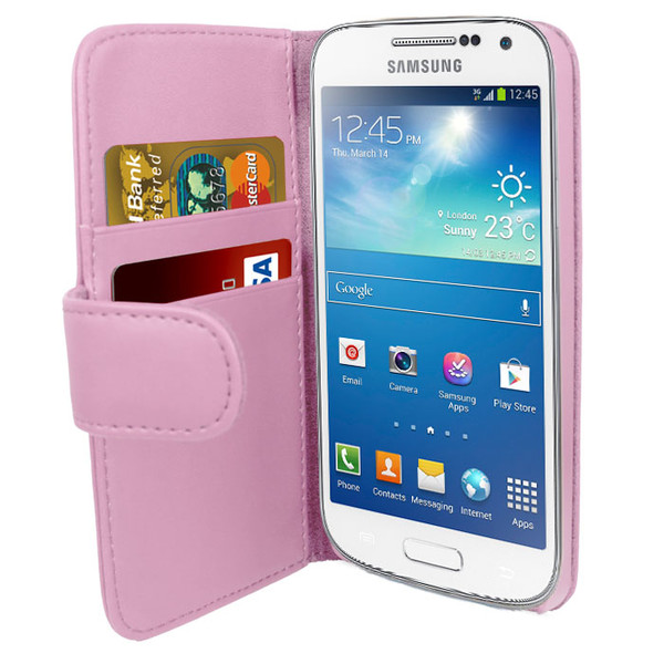 Pink PU Leather Wallet with Card Holder for Samsung Galaxy S4