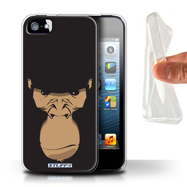 Protective Gel/TPU Case for Apple iPhone 5/5S / Animal Faces Collection / Gorilla/Chimp/Monkey