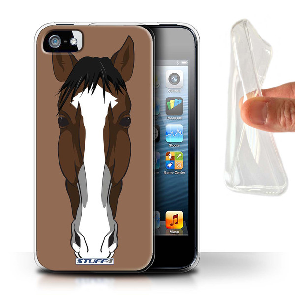 Protective Gel/TPU Case for Apple iPhone 5/5S / Animal Faces Collection / Horse
