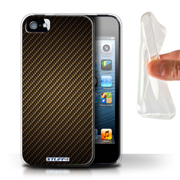 Protective Gel/TPU Case for Apple iPhone 5/5S / Carbon Fibre Effect/Pattern Collection / Gold